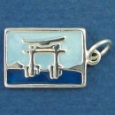 Tour International Post Card Sterling Silver Charm of Torii Gate in Japan Enamel Pendant