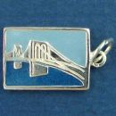 Tour Post Card Sterling Silver Charm of Brooklyn Bridge in Ney York Enamel Pendant