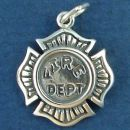 Fireman's Firefighter Shield with Word Phrase Fire Dept Sterling Silver Charm Pendant