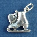 Ice Skate with I Heart Accent 3D Sterling Silver Charm Pendant