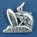 Lifes A Beach Word Phrase with Surfboard and Umbrella Charm Sterling Silver Pendant