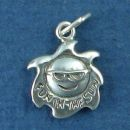 Wearing Sunglasses with Word Phrase Fun in the Sun Charm Sterling Silver Pendant