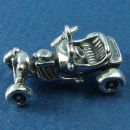Hot Rod Car 3D Sterling Silver Charm Pendant