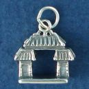 Chinese Gate 3D Sterling Silver Charm Pendant