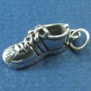 Tennis Shoe 3D for Running or Sports Sterling Silver Charm Pendant