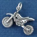 Motorcycle, Motocross Sports Dirt Bike 3D Sterling Silver Charm Pendant