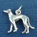 Dog, Greyhound 3D Sterling Silver Charm Pendant
