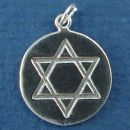 Religious Jewish Star of David Symbol on Disk with Seal of Solomon Word Phrase on Back Sterling Silver Charm Pendant