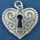 Heart Double Sided with Scroll Accent and Key Hole Sterling Silver Charm Pendant