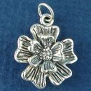 Flower has 5 Pedals 3D Sterling Silver Charm Pendant with Loop on Back for Dangle