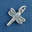 Dragonfly 3D Small Sterling Silver Charm Pendant