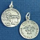 Tour: Philadelphia City of Brotherly Love Double Sided Sterling Silver Charm Disk Pendant