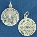 Tour: San Diego America's Finest City Double Sided Sterling Silver Charm Disk Pendant