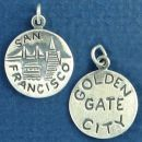 Tour: San Francisco Golden Gate City Double Sided Sterling Silver Charm Disk Pendant