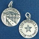 Tour: Los Angeles City of the Angels Double Sided Sterling Silver Charm Disk Pendant