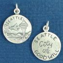 Tour: Seattle City of Good Will Double Sided Sterling Silver Charm Disk Pendant