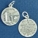 Tour: Miami Gateway to the Americas Double Sided Sterling Silver Charm Disk Pendant
