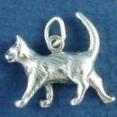 Cat Walking 3D Sterling Silver Charm Pendant