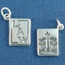 Law Book with the Scales of Justice 3D Sterling Silver Charm Pendant