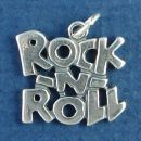 Rock -N- Roll Word Phrase Sterling Silver Charm Pendant