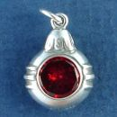 Christmas Ornament with Red CZ Sterling Silver Charm Pendant