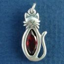 Cat Sitting with Red Crystal Sterling Silver Charm Pendant