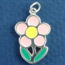 Flower with Pink, Yellow and Green Enamel Accents Sterling Silver Charm Pendant