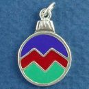 Christmas Ornament with Purple, Red and Green Enamel Sterling Silver Charm Pendant