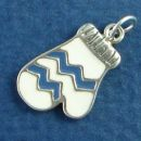 Ski Mitten with Blue and White Enamel Sterling Silver Charm Pendant