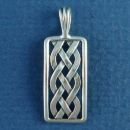 Celtic Knot Rectangle Design Sterling Silver Pendant Small