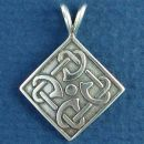 Celtic Knot Diamond Shaped Design Sterling Silver Pendant Small