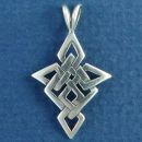 Celtic Cross Diamond Knot Design Sterling Silver Pendant Medium
