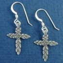 Rose Inspired Christain Cross Sterling Silver French Wire Earrings