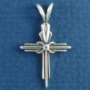 Three Bar Christian Cross with Center Knot Sterling Silver Pendant