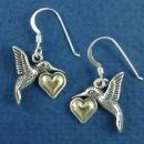 Humming Bird Sterling Silver French Wire Earrings Holding 14K Gold Heart