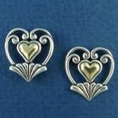 Heart with Scroll Fan Design Sterling Silver Post Earrings and 14K Gold Heart Accent