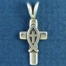 Cross with Christian Fish Ichthus Sterling Silver Pendant
