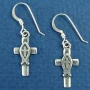Cross with Christian Fish Ichthus Sterling Silver Earrings with French Wire