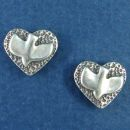 Hammered Heart with Christian Descending Dove Holy Spirt Sterling Silver Post Earring