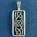 Celtic Knot Rectangle with Circle Weave Design Sterling Silver Pendant Small