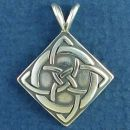 Celtic Design on Diamond Shield Sterling Silver Pendant Medium
