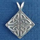 Celtic Knot Design on Diamond Shield Sterling Silver Pendant Medium