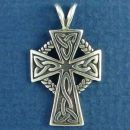 Celtic Cross with Woven Circle Design Sterling Silver Pendant Medium