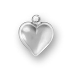 Puffed Heart Sterling Silver Charm Pendant