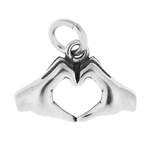 Sterling Silver Hand Shaped Heart Charm