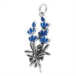Texas Bluebonnet Charm Sterling Silver Charm with Enamel