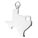 Texas Map with Open Heart Sterling Silver Charm Pendant