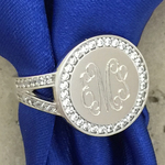 CZ Round Monogrammed Rings Sterling Silver
