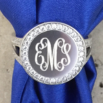 CZ Round Monogrammed Earrings Sterling Silver with Euroback Hinge