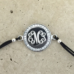 CZ Round Monogrammed Bracelet Sterling Silver with Black Adjustable Cord